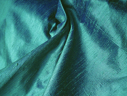 Deep Peacock Green Iridescent Silk