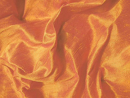 Brilliant Golden Tangerine Iridescent Silk Dupioni Fabric