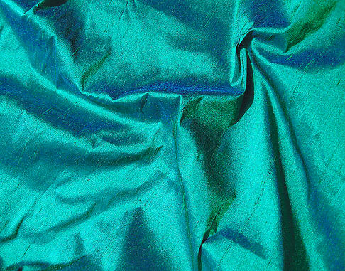 Emerald Green Royal Blue Iridescent Silk Dupioni Fabric