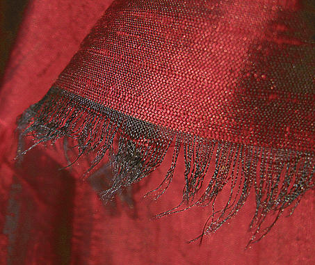 Brilliant Deep Red Iridescent Silk Dupioni Fabric
