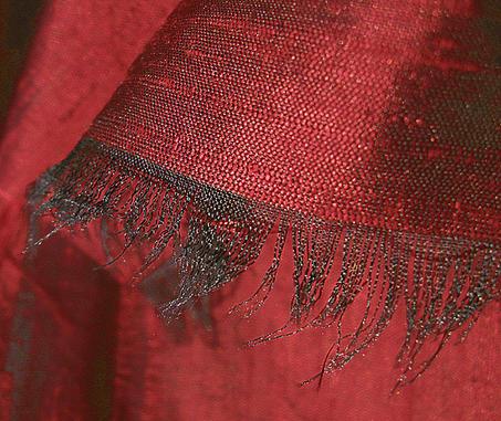 Brilliant Deep Red Iridescent Silk Dupioni Fabric