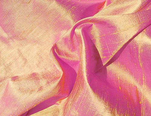 Yellow Gold Fuchsia Pink Iridescent Dupioni Silk