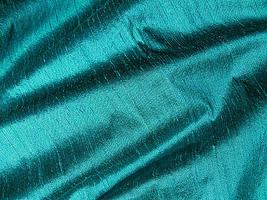 Jewel Tone Green Teal Iridescent Dupioni Silk Fabric
